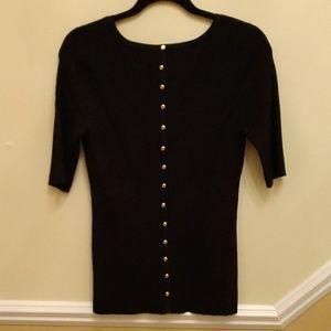 Carmen Marc Valvo Black Sweater Faux Button Back